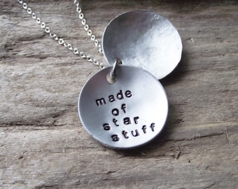 Made of Starstuff Silver Locket Pendant- Stamped Metal Atheist Aluminum Locket- Celestial Space Star Stuff Science Pendant Necklace