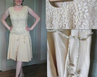 20s style Dress, Vintage Dress, Dress, Champagne, Lace, Gatsby, Flapper, Sequins, Wedding, Bride, Vintage, 60s, Elegant, Evening, Party
