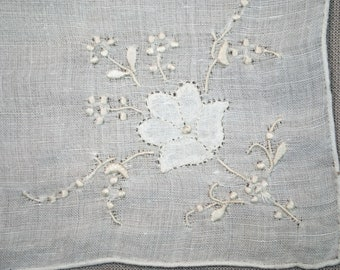 Vintage Madeira Handkerchief Handmade With Hand Stitched Embroidery And With Appliqued Flowers