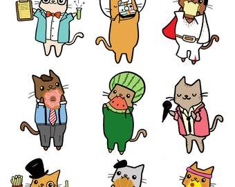 Cute Sticker Sheet Planet Kitty Cat Stickers Kawaii Sticker Gift Idea Journaling Stickers Bullet Journal