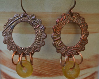 Handmade Copper Zentangle Hoops