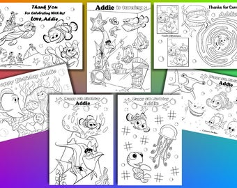 Finding Nemo Birthday Party favor, Finding Nemo coloring pages, PDF file