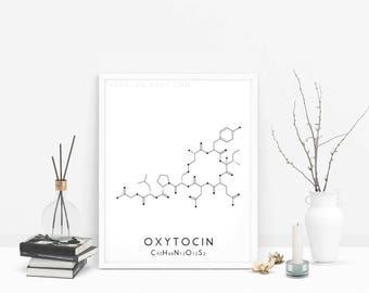 Oxytocin Print, Chemical Love Molecule Print, Chemistry Poster, Molecular Structure Print, Black & White Wall Art, Science Wall Decor