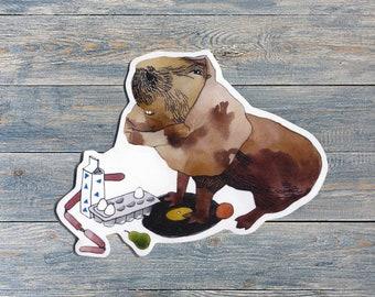 Capybara went shopping sticker (for laptop, phone cases, etc)