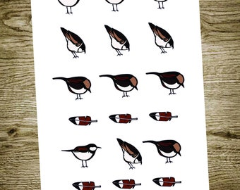 Cute little bird planner stickers with feathers
