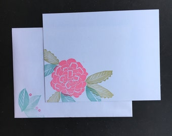 Pink zinnia flat note cards