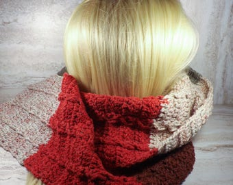 Red, Grey and Brown Scarf, Cabled Crochet Scarf