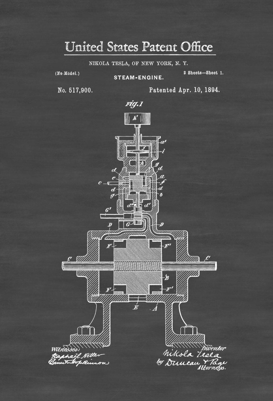 Tesla Dampfmaschine Patent Druck 1894 Erfindung des Tesla