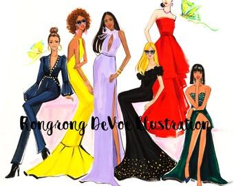 Fashion Illustration,Fashion art,Fashion Print,Fashion wall art,Fashion art,Fashion poster,Titled-Fab Ladies