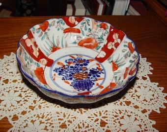 Antique Oriental Hand painted & Ribbed Japanese Imari Bowl w/ damage