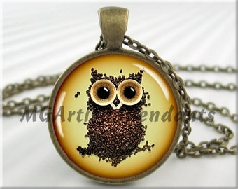 Coffee Owl Pendant, Coffee Bean Owl, Resin Necklace, Owl Charm Pendant, Gift Under 20, Round Bronze, Owl Lover Gift, Coffee Necklace 606RB