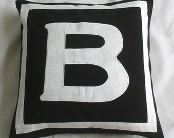 black and white initial pillow. Decorative letter pillow  with the choice of  your monagrams  18 inch cushion  made