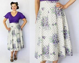 "1940s Skirt / 40s Skirt / Novelty Print Skirt / Purple Skirt / Floral Skirt / Violets Print / Half Circle Skirt / 40s Floral / Waist 27"""