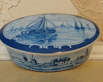 Vintage Dutch Candy Tin, Vintage Dutch Blue Biscuit Tin, Dutch Blue Tin Container, made in Western Germany