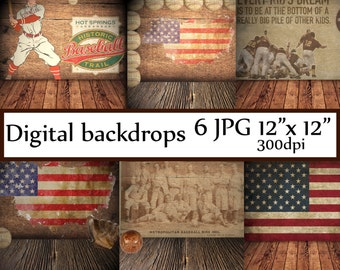 "Baseball digital backdrops: ""DIGITAL BACKDROP"" Digital background Vintage Baseball backgrounds backdrop room  photography backdrop"