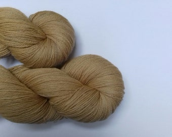 Hand dyed yarn, merino, 4ply, light brown,  naturally dyed, MER500/B/1