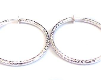 Clip-on Earrings Hoop Earrings Plated Silver Tone Hypo-Allergenic Hoop Earrings 2 Inch Hoop Swirl
