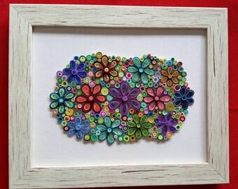 Original Quilling Artwork: Quilled flower montage