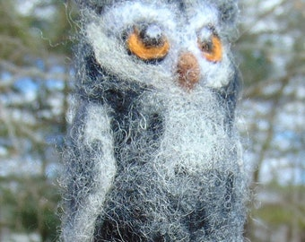Felted owl, needle felted owl, great horned owl, OOAK felted bird