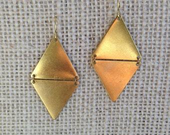 Raw Brass Geo Triangle Earrings