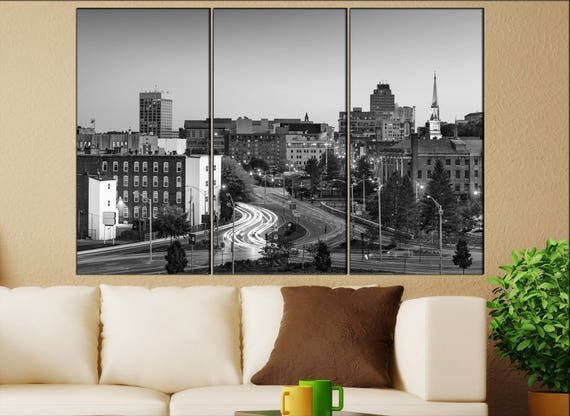 Worcester, Massachusetts skyline canvas wall art  Worcester canvas wall art art Worcester wall decoration Worcester large canvas wall art
