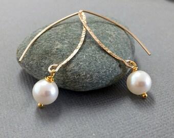 Delicate Gold Pearl Earrings Drop Pearl Hoop Earrings Hoop Pearl Earrings Bridal Pearl Earrings Dangle Earrings June Birthstone Gold Earring