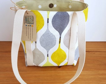 Yellow Tote Bag, Small Tote Bag, Fabric Tote Bag, Fabric Handbag, Yellow Purse, Yellow Canvas Bag, Purse with Pockets, Small Shoulder Bag