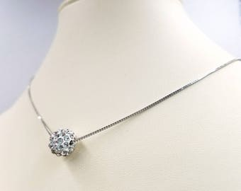 Special! Sterling Silver Disco Ball Necklace Set, Box Chain Necklace w Cubic Zirconia Crystal Pave Ball and Earrings, Infinity Lobster Close