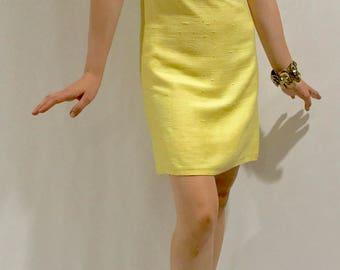Sunshine Yellow 1960s Beaded Wiggle Dress