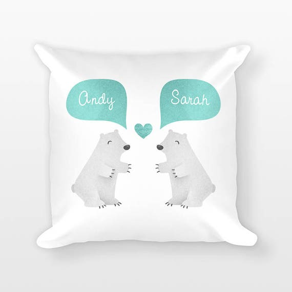 POLAR BEAR Pillow, Animal Couple Pillow, Personalized Pillow, Anniversary Gift for Girlfriend, Gift for Her, Gift for Parents, Throw Pillow