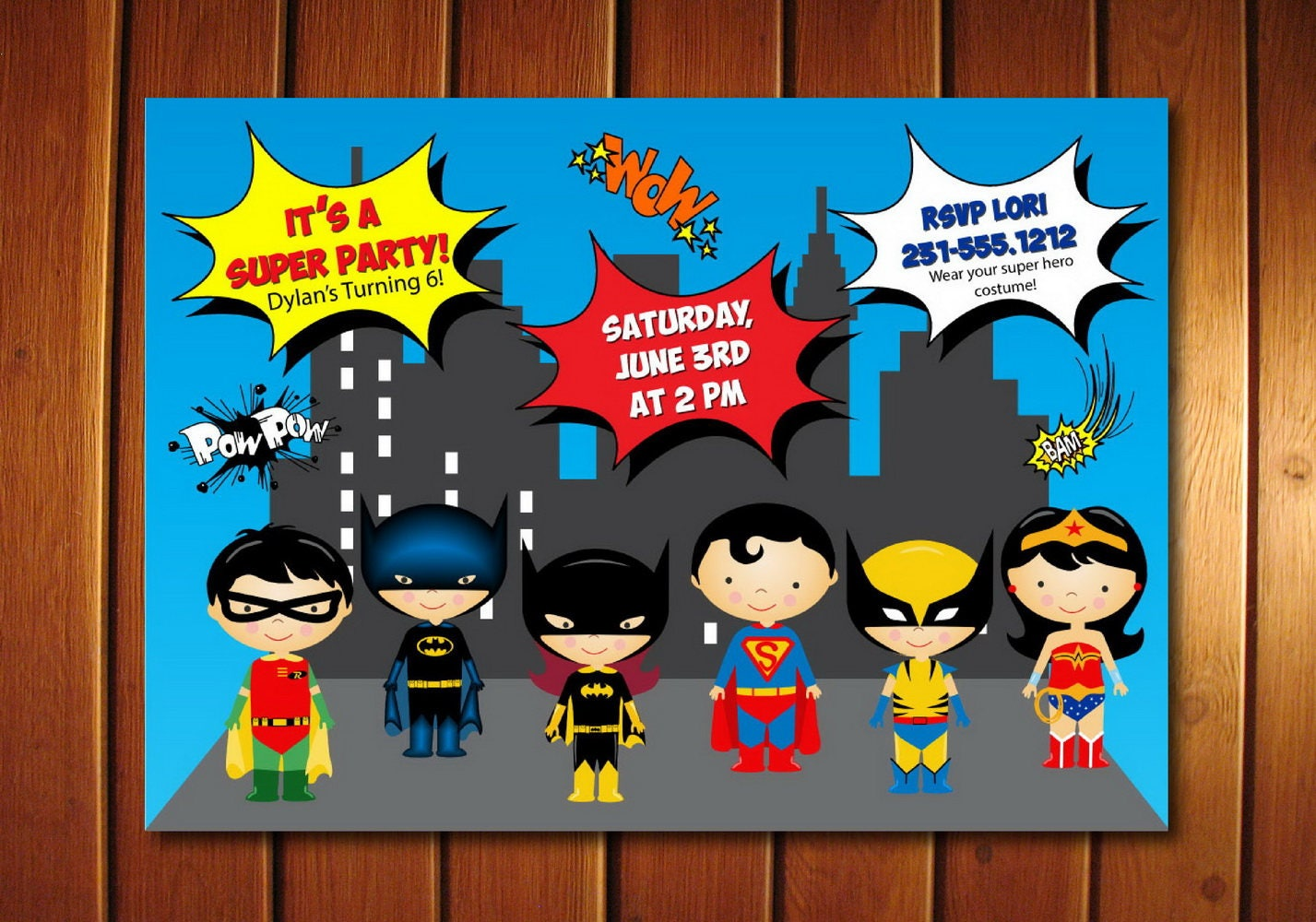 Super Hero Invitation Kids Super Hero Birthday Invitation