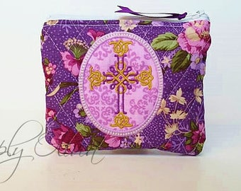 Personalized Rosary Pouch, First Communion gift, Baptism gift, Confirmation Gift, rosary beads, Mothers Day gift