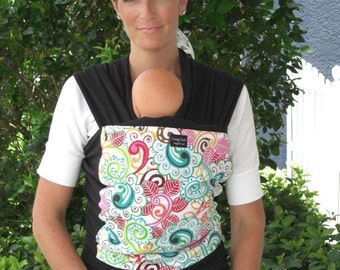 LIMITED- ORGANIC COTTON Baby Wrap Baby Sling Carrier-White Garden on Black -Newborn through Toddler- DvD Included