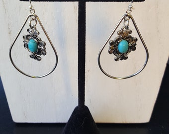 Boho teardrop hoop earrings with turquoise and silver charm