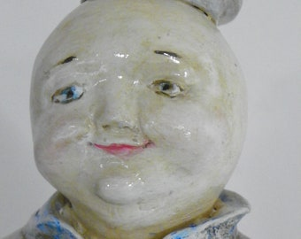 Man in the Moon sculpted Paper Mache Folk Art