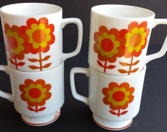 Set of Four Cute White with Orange and Gold Flowers Footed Mugs