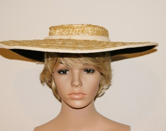 Vintage 40's Designer Yellow Straw Wide Brim Cartwheel Hat by Jeanne Tete