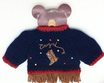 "Cowgirl Bear Sweater for 12"" to 16"" Bear or Stuffed Animal"
