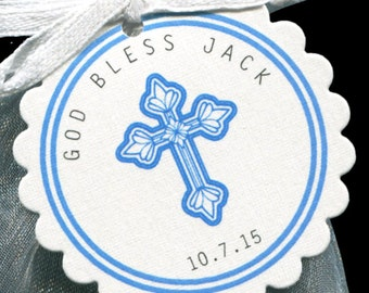 Baby Boy Baptism Favor Tags - Christening Favor Tags - Communion Favor Tags - Personalized - Blue - Cross - Scallop Border