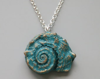 Seashell Pendant Necklace, Polymer Clay, Aqua Blue and Gold