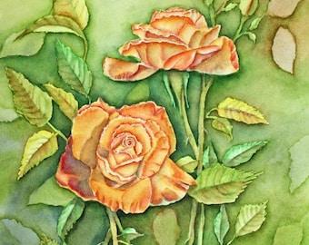 Orange Roses Original Watercolor Painting, matted to 16x20, orange green yellow