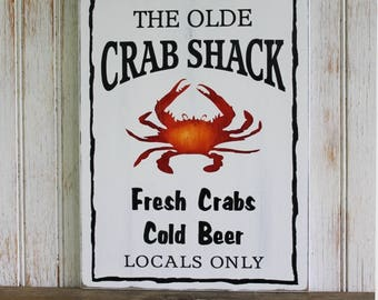 Crab Shack Wood Sign Handcrafted Crabs and Beer, Coastal Decor, Beach House Sign Decor, Maryland Home, Rustic