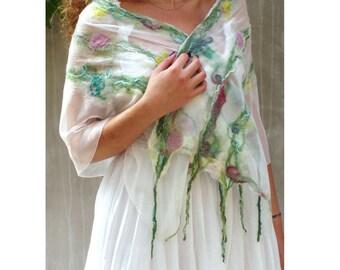 Pastel scarf, felt scarf, Spring, floral scarf, wedding scarf, nuno felt scarf, feminine, luxury scarf, merino scarf, silk scarf, fairy