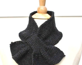 Knit dark gray scarf, knitted keyhole scarf, gray neckwarmer, small scarflette, knit ascot, gift for her, womens scarf, unique scarf