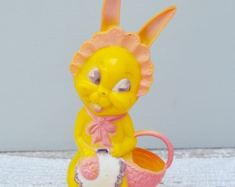 Vintage Hard Plastic Bunny with Basket . Candy Container . Plastics Easter Decor. 1950s/Easter Collectible
