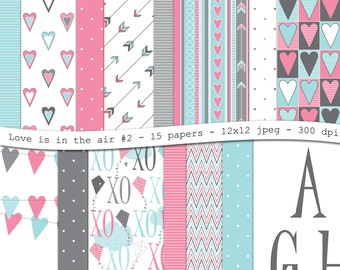 Love is in the air No.2-Valentines digital scrapbooking paper pack-15 printable pink blue gray jpeg papers,12x12, 300 dpi - instant download