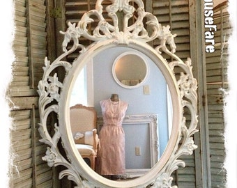 Oval Wall Mirror, Baroque Mirror, Ivory Shabby Chic Mirror, Ornate Mirror, Bathroom Mirror, Nursery Mirror, Ivory and Gold Mirror