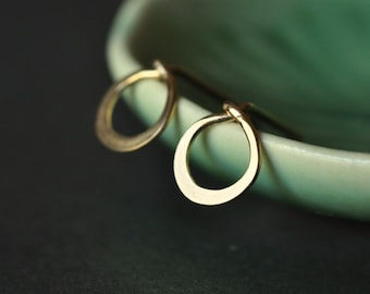 Tiny Teeny Circle stud earrings in 14K gold filled