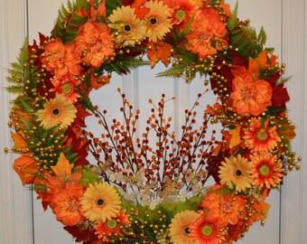 Bright Yellow and Orange Daisy Autumn Wreath