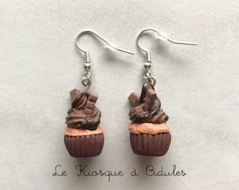 Boucles d'oreilles - Cupcake chocolat en fimo